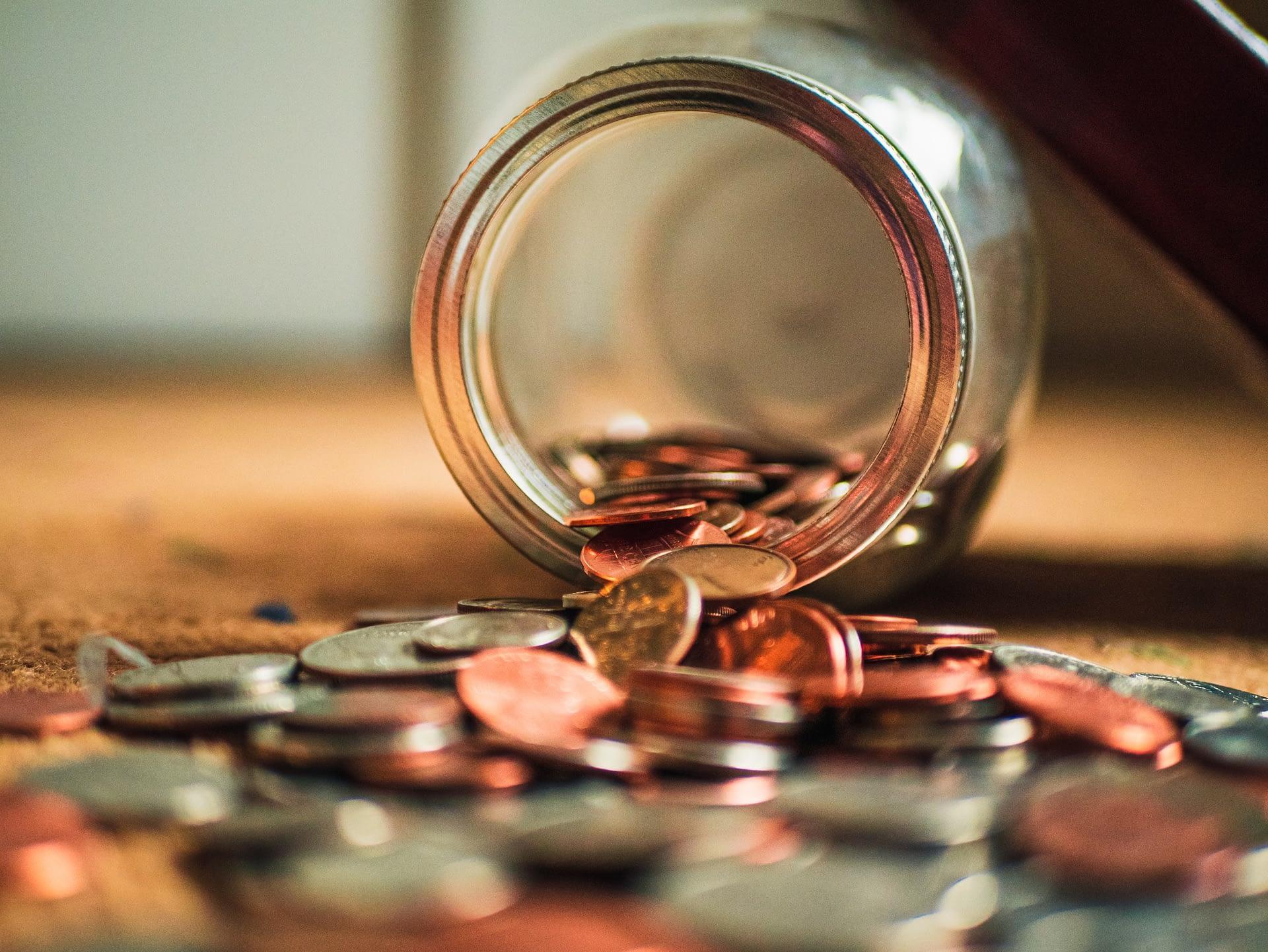 a jar with coins.