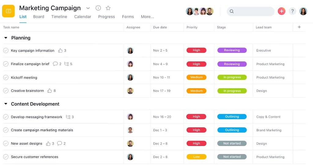 Screenshot of Asana PM tool. Learning new trends is a productive activity during lockdown.